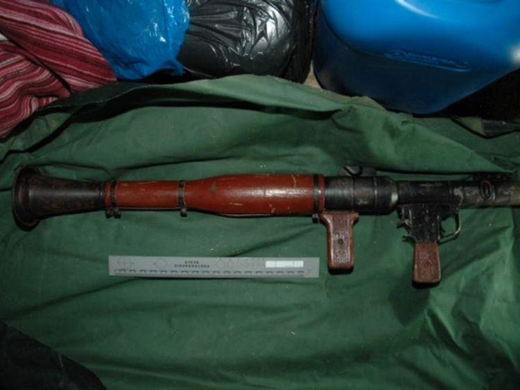 Police photo of rocket launcher seized in West Belfast