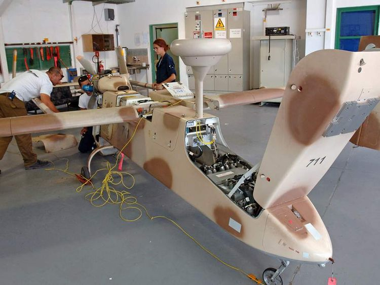 Israeli military personnel prepare drone for mission at Palmachim