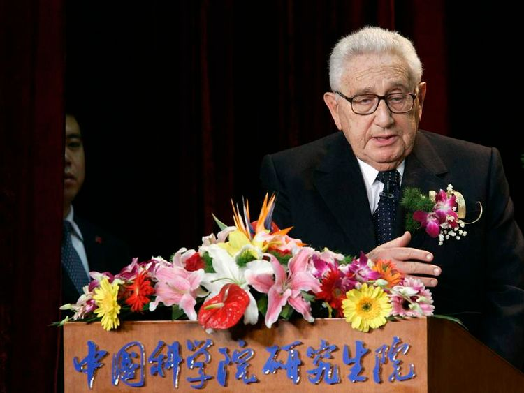 Former US Secretary of State Kissinger delivers a speech in Beijing in 2007