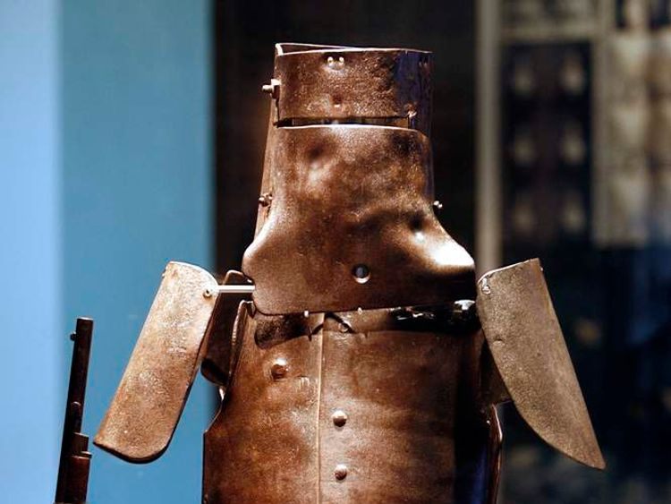 The body armour of outlaw Ned Kelly is on display at the State Library of Victoria in Melbourne