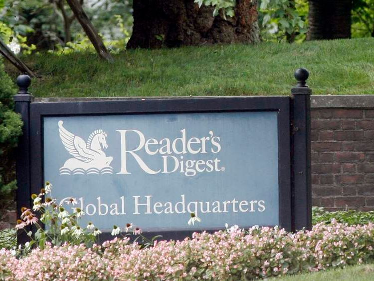 The entrance to the Reader's Digest Global Headquarters is seen in Chappaqua