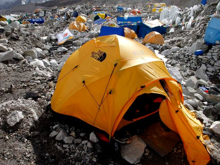 Tents seen at Everest base camp in Nepal