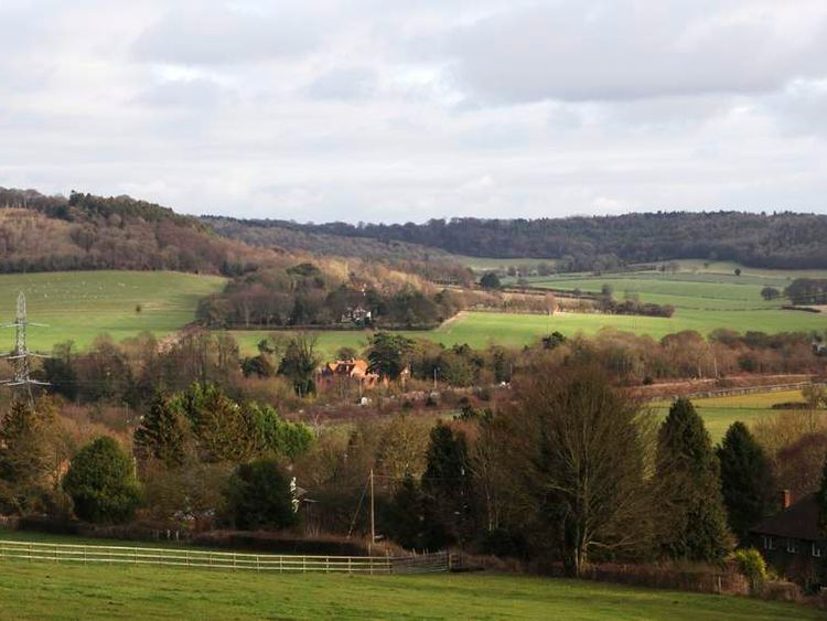 Bacombe Lane in the Chilterns where a viaduct will be built for HS2