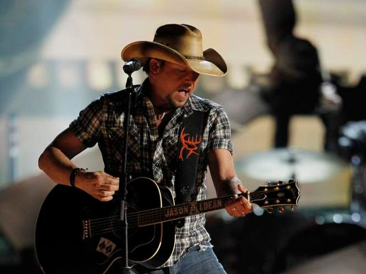 """Jason Aldean performs """"Fly Over States"""" at the 47th annual Academy of Country Music Awards in Las Vegas"""