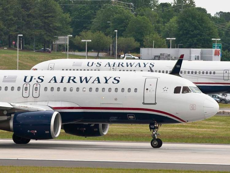 A US Airways jet prepares to take off