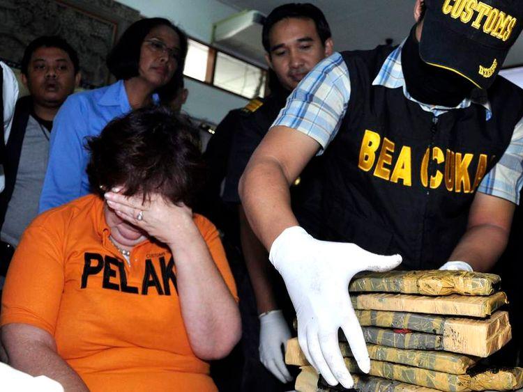 Lindsay June Sandiford is seen at a news conference at the Customs Office at Ngurah Rai International Airport in Bali