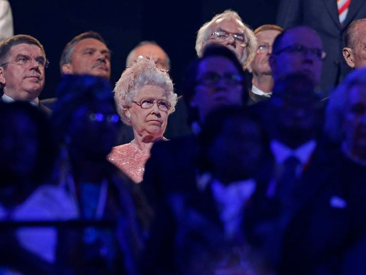 The Queen looks on during the opening ceremony of the London Games