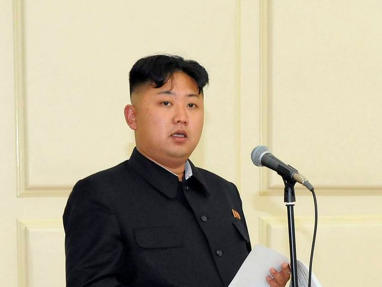 North Korean leader Kim Jong-Un speaks at a banquet held to celebrate the 52nd anniversary of the late leader Kim Jong-il's leadership over the Songun in Pyongyang