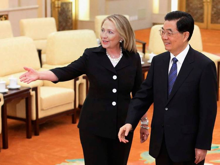 Hillary Clinton and China's President Hu