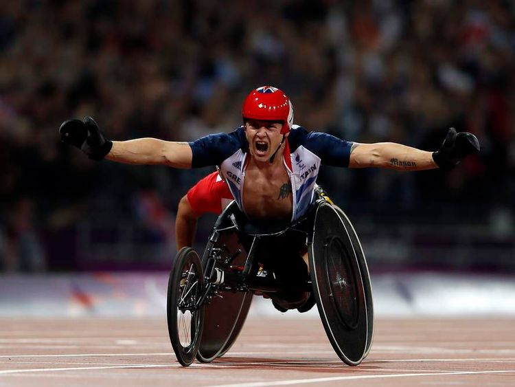 Britain's Weir celebrates after winning the Men's 800m T54  the Olympic Stadium during the London 2012 Paralympic Games in London