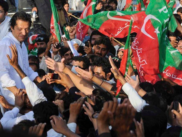 Imran Khan at protest