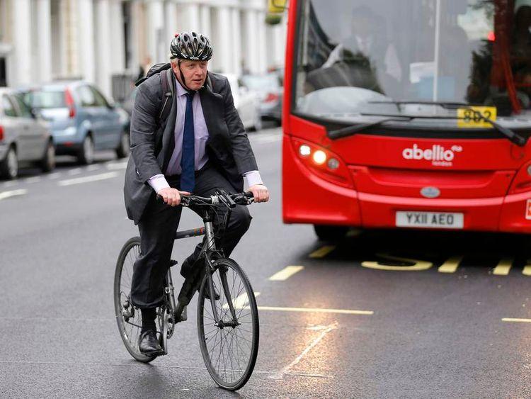 London Mayor Boris Johnson cycling