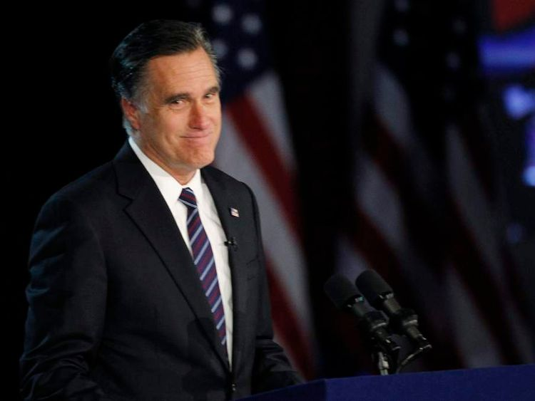 U.S. Republican presidential nominee Mitt Romney gives his concession speech after losing the election to U.S. President Barack Obama