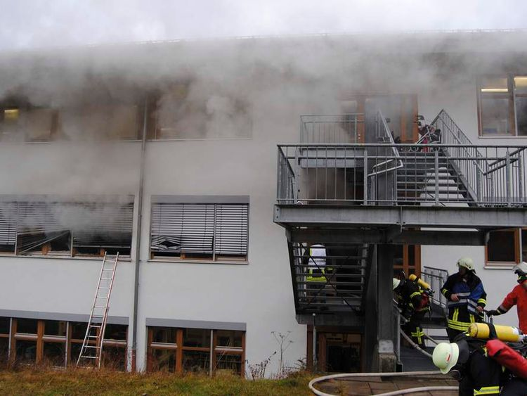 Firemen attend scene of fire at workshop for disabled people in Titisee- Neustadt