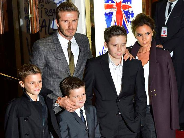 """The Beckham family arrives for the premiere of the musical """"Viva Forever!"""", based on the music of the Spice Girls, in central London"""