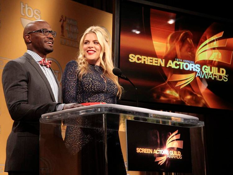 Actors Taye Diggs and Busy Philipps announce the nominations for the 19th Annual Screen Actors Guild Awards in West Hollywood, California