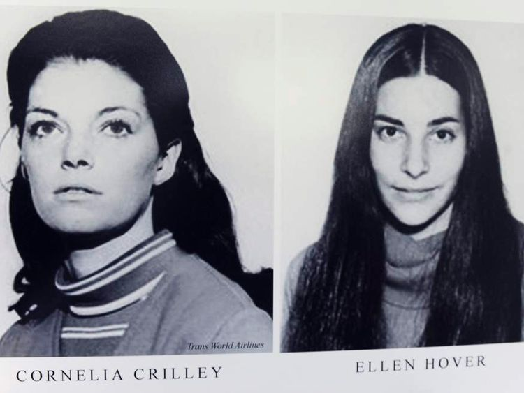 Photos of Cornelia Crilley and Ellen Hoover who were murdered by Rodney Alcala in the 1970's are pictured at the Manhattan Supreme Court in New York.