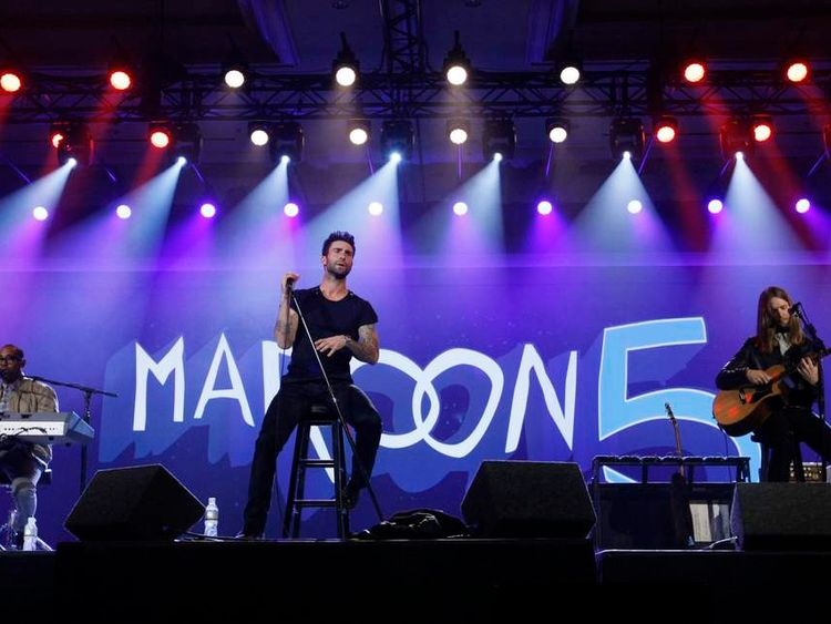 Maroon 5 performs at the Qualcomm pre-show keynote at the CES in Las Vegas