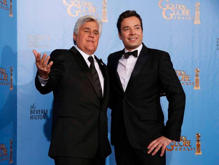 Late night talk show hosts Jay Leno and Jimmy Fallon