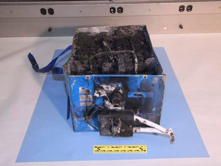 Handout of burnt auxiliary power unit battery removed from Japan Airlines Boeing 787 Dreamliner jet provided by NTSB