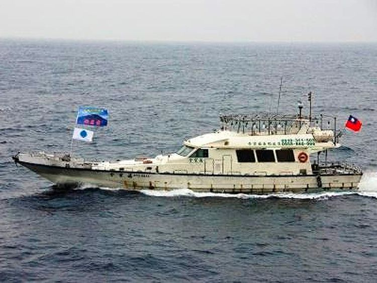 Taiwanese boat carrying Taiwanese activists on board cruises in the East China Sea
