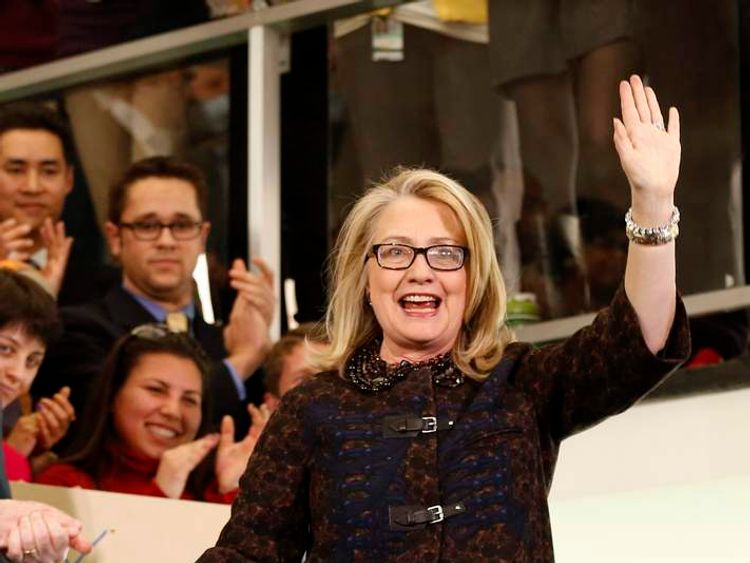 Clinton bids farewell to the State Department in Washington