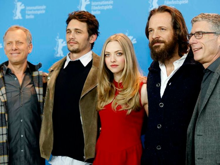 """Directors Epstein and Friedman pose with their cast members actors Franco, Seyfried and Sarsgaard during a photocall to promote the movie """"Lovelace"""" at the 63rd Berlinale International Film Festival in Berlin"""