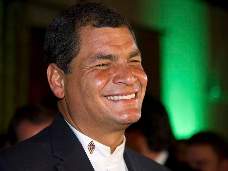 Ecuador's President Correa reacts after hearing the election results in Quito