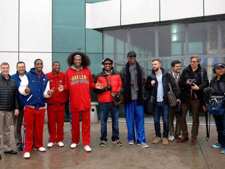 Former NBA star Dennis Rodman (far right)