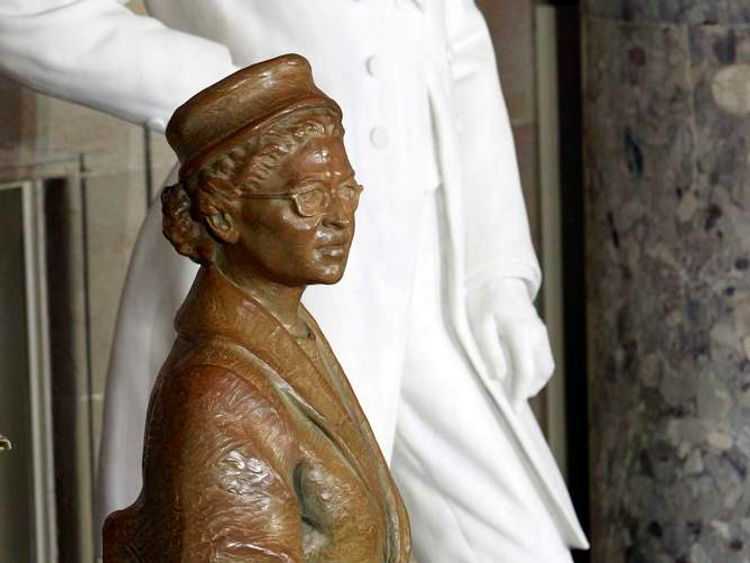 A state of civil rights activist Rosa Parks is pictured after its unveiling in Statuary Hall in the U.S. Capitol in Washington