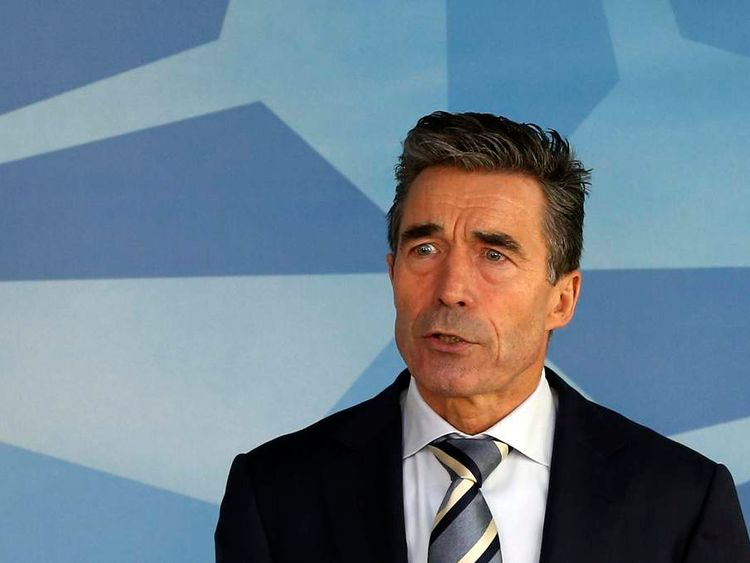 NATO Secretary-General Rasmussen holds a press conference at the Alliance headquarters in Brussels regarding the situation in Ukraine and Crimea region