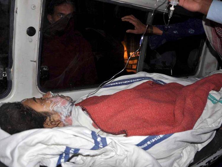 Victim in ambulance