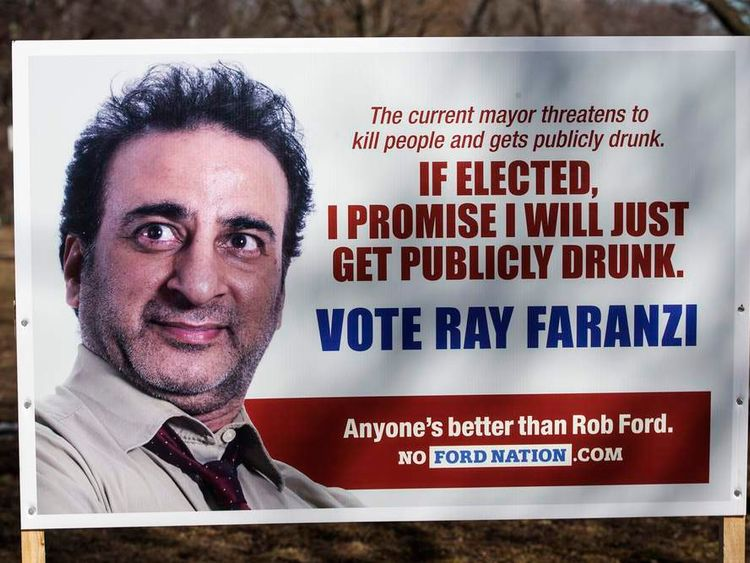 A fake mayoral election campaign sign with a fictitious candidate is seen in Toronto
