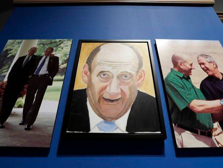 A portrait of former Israeli Prime Minister Ehud Olmert, painted by former US President George W Bush