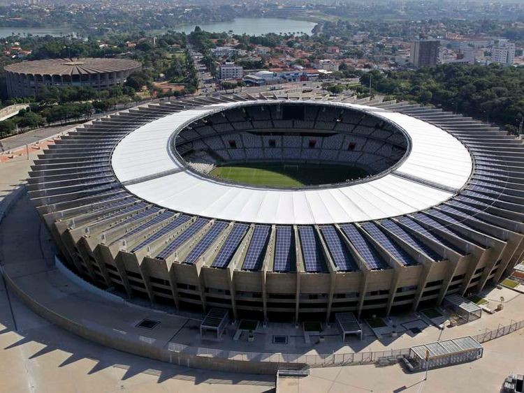 An aerial view of the Estadio Mineirao, one of the stadiums hosting the 2014 World Cup.
