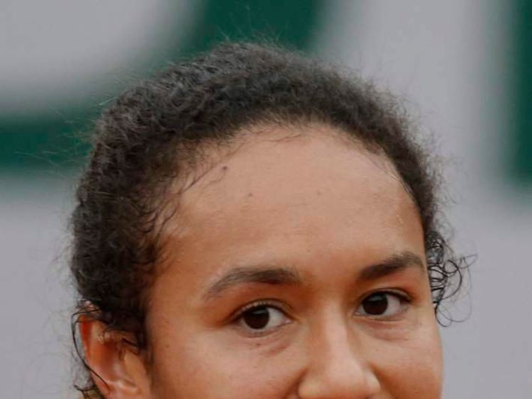 Heather Watson of Britain eyes the ball during her women's singles match against Simona Halep of Romania at the French Open tennis tournament at the Roland Garros stadium in Paris