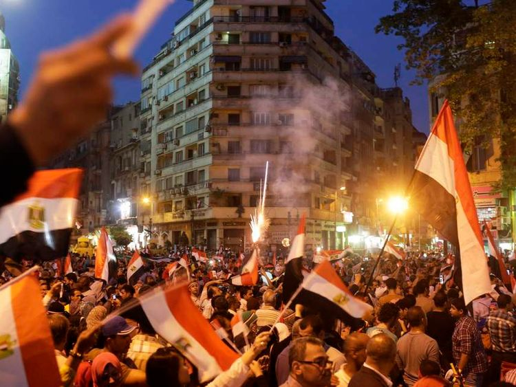 Egyptians gather at Tahrir square to celebrate former Egyptian army chief Sisi's victory in presidential vote in Cairo