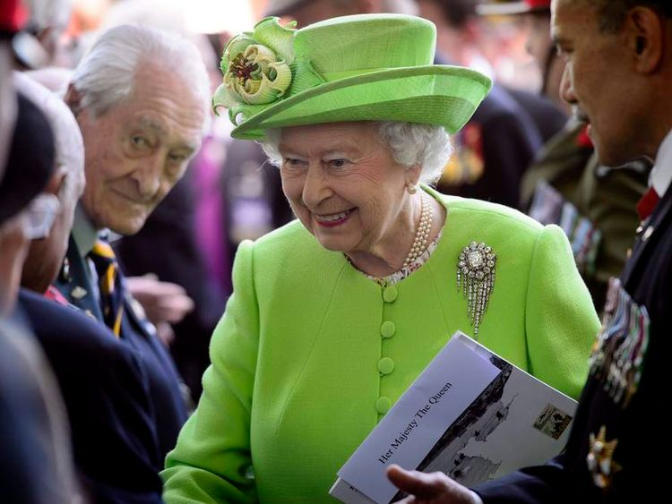 Britain's Queen Elizabeth meets veterans following D-Day commemoration ceremony in Bayeux