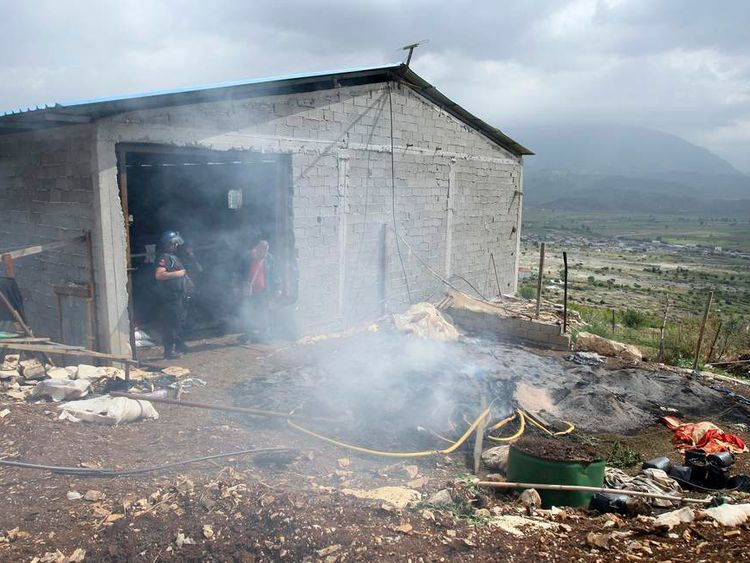 Members of the Albanian special police burn cannabis in the village of Lazarat