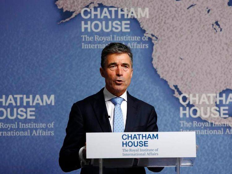 NATO Secretary General Anders Fogh Rasmussen speaks at Chatham House in London