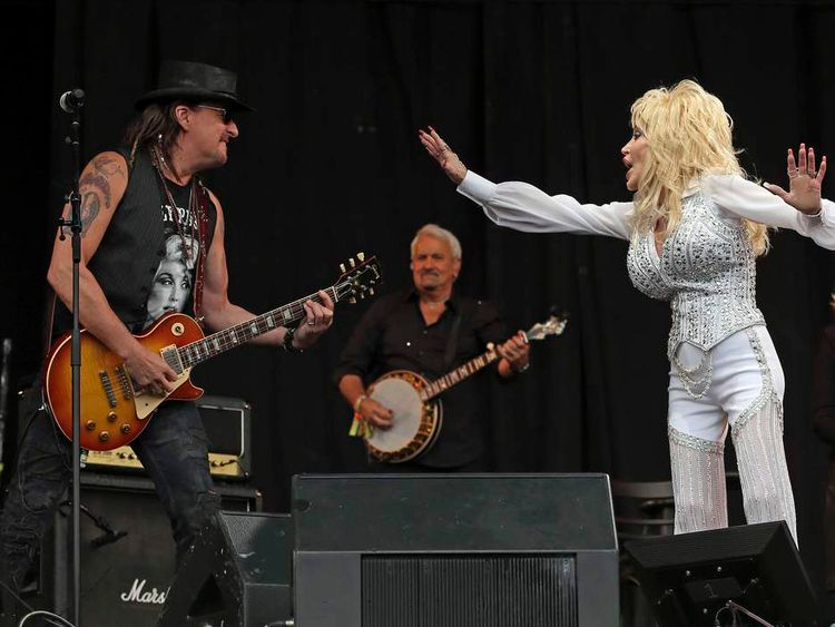 Sambora joins Parton to perform on the Pyramid Stage at Worthy Farm in Somerset, during the Glastonbury Festival