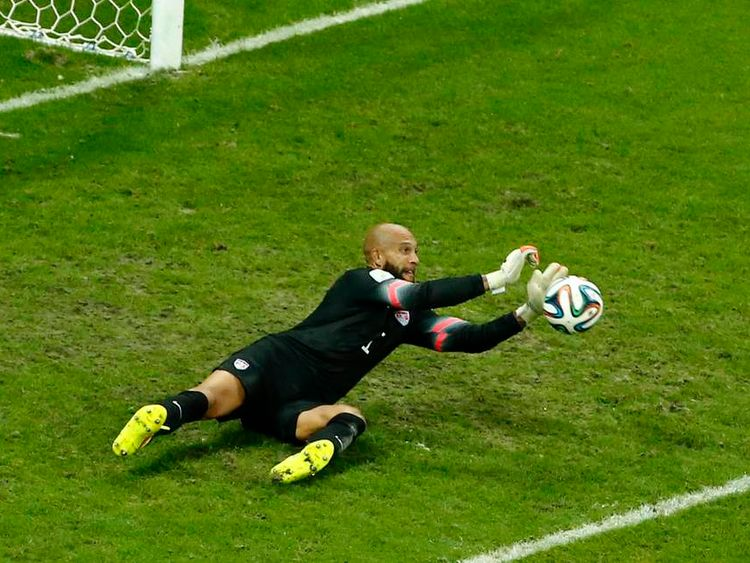 Tim Howard in action for Team USA against Belgium at the 2014 Fifa World Cup