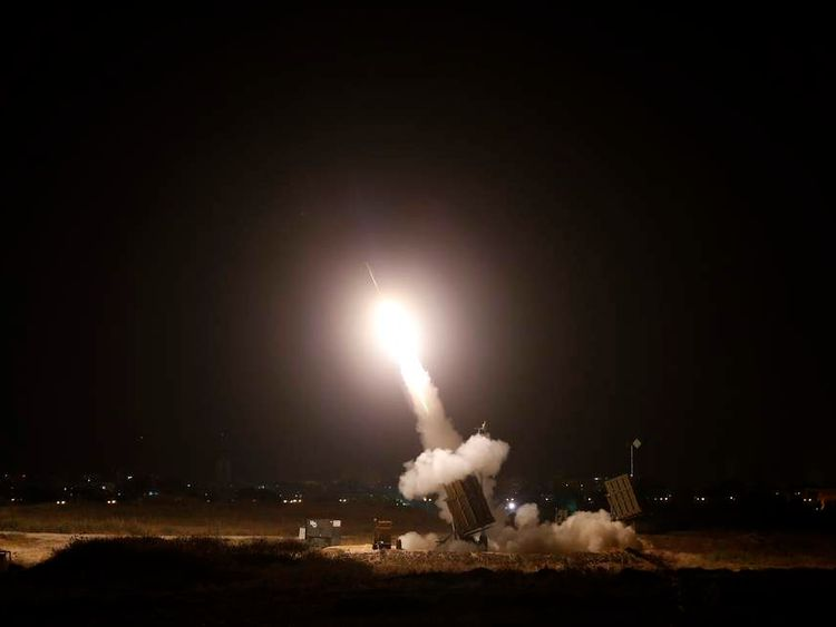 An Iron Dome launcher fires an interceptor rocket in southern Israel