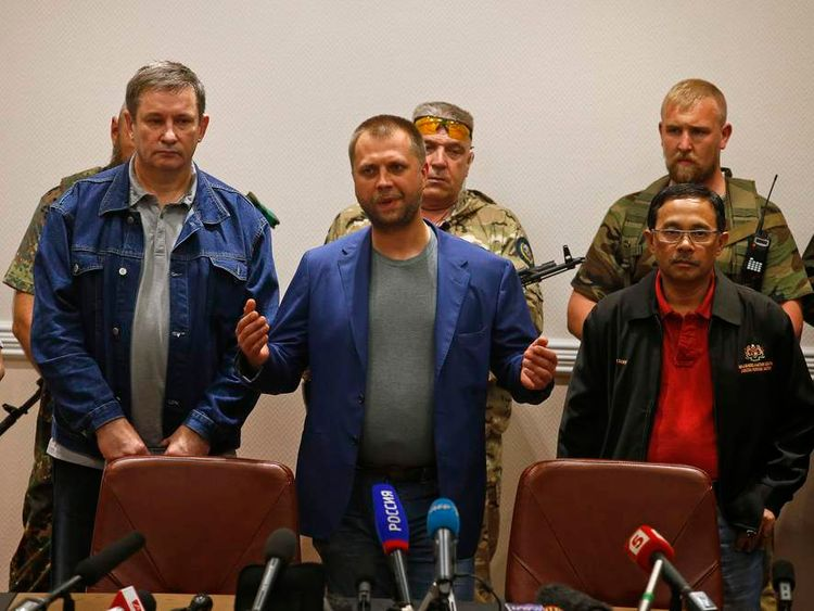 Senior Ukrainian separatist leader Borodai speaks during a handover of Malaysia Airlines MH17's black boxes to Malaysian Colonel Sakri, in Donetsk.