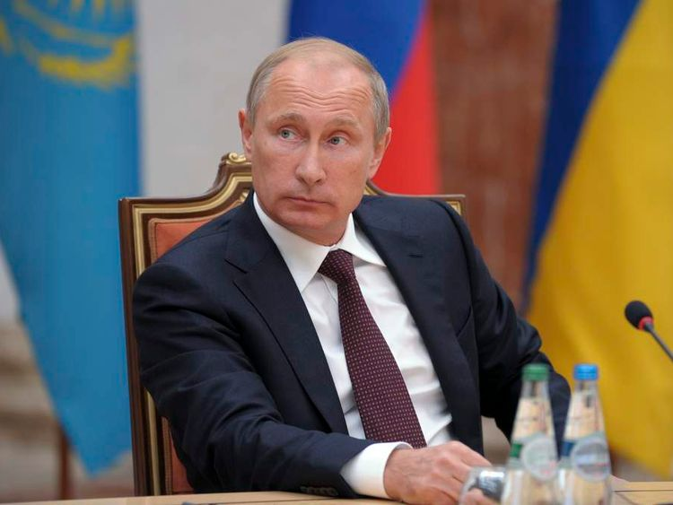 Russian President Vladimir Putin attends a meeting with high-ranked officials representing Russia, Belarus, Kazakhstan, Ukraine and the European Union in Minsk.
