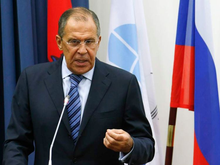 Russia's Foreign Minister Sergei Lavrov attends a meeting with students at Moscow State Institute of International Relations in Moscow