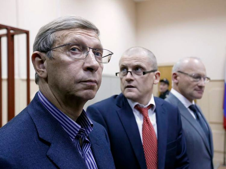 Chairman of the Sistema business conglomerate Vladimir Yevtushenkov attends a court hearing in Moscow