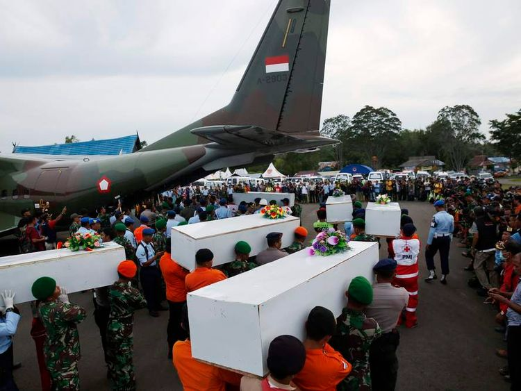 Caskets of the recovered victims have been flown to the town of Pangkalan Bun