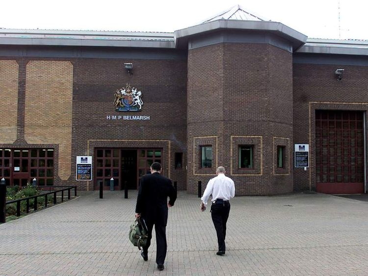 SECURITY OFFICERS AROUND BELMARSH HIGH SECURITY COURT AND PRISON INLONDON.