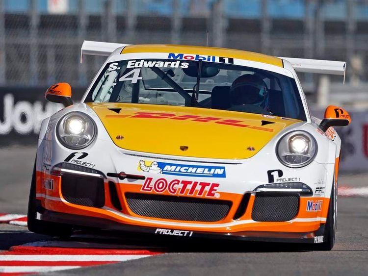 British driver Sean Edwards competes in the Porsche Supercup race in Monaco